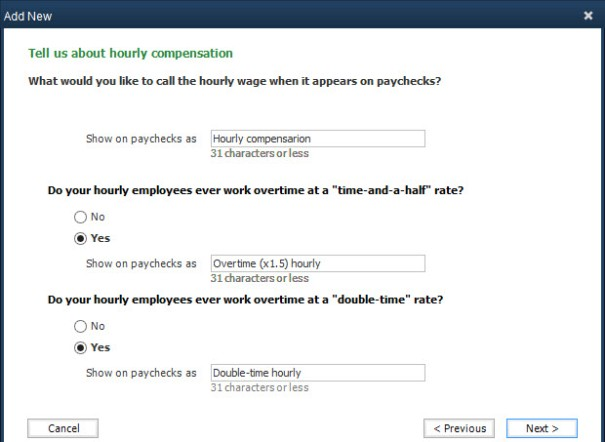 Adding new types of compensation